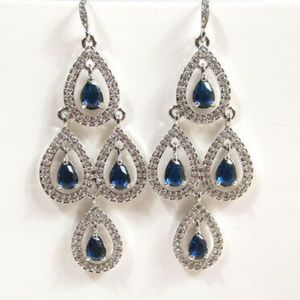 Carolee Silver Tone Blue Pear Chandelier Earrings